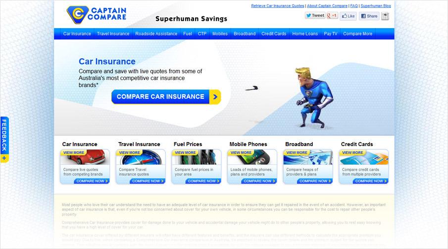 Captain Compare website design - Selected works of graphic designer ...